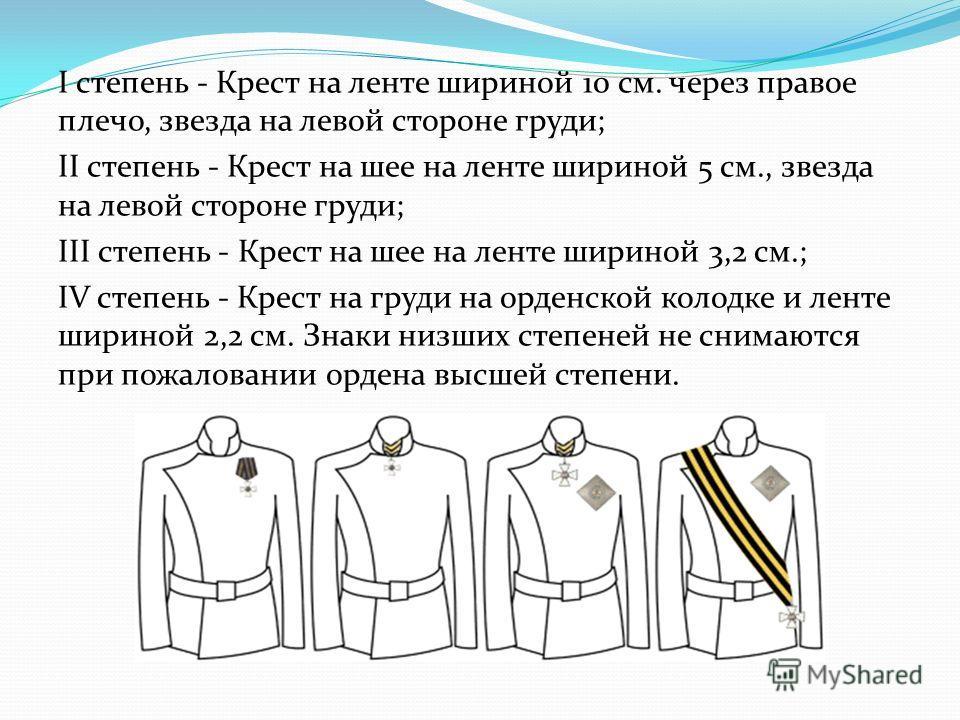 I степень - Крест на ленте шириной 10 см. через правое плечо, звезда на левой стороне груди; II степень - Крест на шее на ленте шириной 5 см., звезда на левой стороне груди; III степень - Крест на шее на ленте шириной 3,2 см.; IV степень - Крест на г