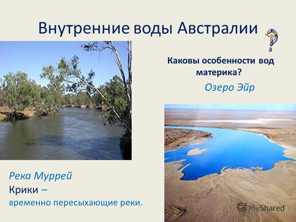 Внутренние воды Австралии Река Муррей Крики – временно пересыхающие реки. Озеро Эйр Каковы особенности вод материка?
