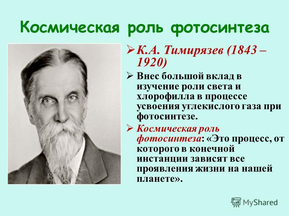 Космическая роль фотосинтеза К.А. Тимирязев (1843 – 1920) Внес большой вклад в изучение роли света и хлорофилла в процессе усвоения углекислого газа при фотосинтезе. Космическая роль фотосинтеза: «Это процесс, от которого в конечной инстанции зависят