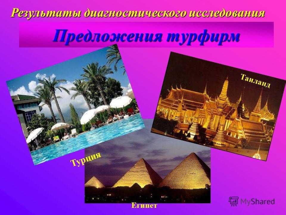 Предложения турфирм Египет Турция Таиланд Результаты диагностического исследования