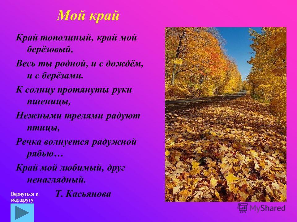 Мой край Край тополиный, край мой берёзовый, Весь ты родной, и с дождём, и с берёзами. К солнцу протянуты руки пшеницы, Нежными трелями радуют птицы, Речка волнуется радужной рябью… Край мой любимый, друг ненаглядный. Т. Касьянова Вернуться к маршрут