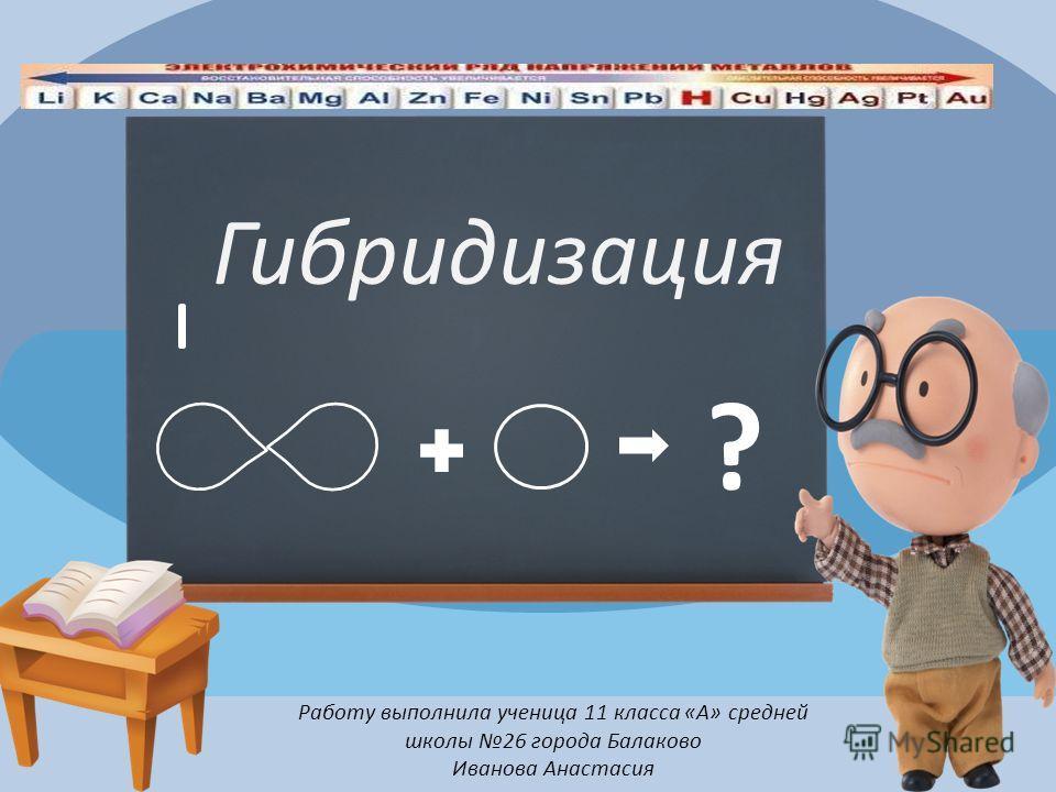 Работу выполнила ученица 11 класса «А» средней школы 26 города Балаково Иванова Анастасия Гибридизация ?