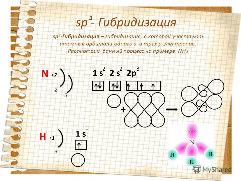 sp - Гибридизация 3 sp 3 -Гибридизация – гибридизация, в которой участвуют атомные орбитали одного s- и трех p-электронов. Рассмотрим данный процесс на примере NH 3 N +7 2 5 1 s 2 s 2p 223 H +1 1 s1 s 1 1