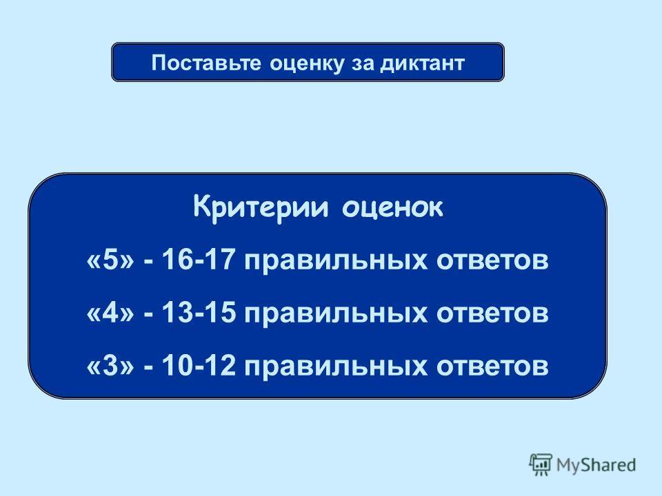 Поставьте оценку за диктант Критерии оценок «5» - 16-17 правильных ответов «4» - 13-15 правильных ответов «3» - 10-12 правильных ответов