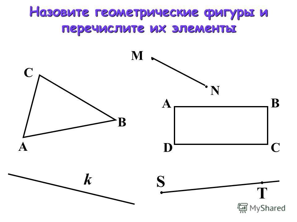 А С В А D В С S T k Назовите геометрические фигуры и перечислите их элементы М N
