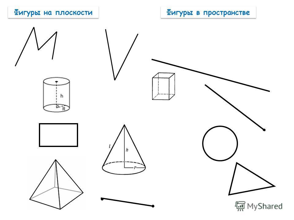 Фигуры на плоскости Фигуры в пространстве