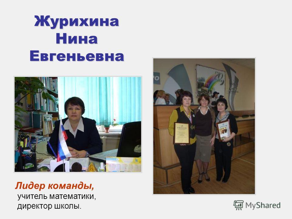 Журихина Нина Евгеньевна Лидер команды, учитель математики, директор школы.