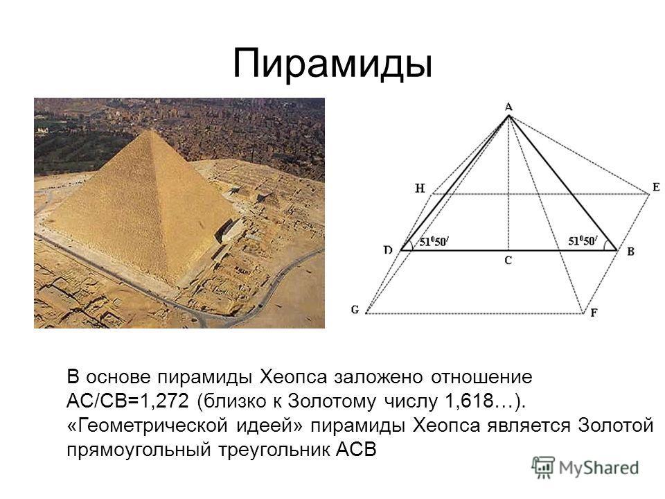 Пирамиды В основе пирамиды Хеопса заложено отношение AC/CB=1,272 (близко к Золотому числу 1,618…). «Геометрической идеей» пирамиды Хеопса является Золотой прямоугольный треугольник ACB