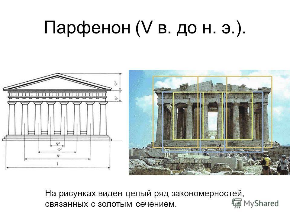 Парфенон (V в. до н. э.). На рисунках виден целый ряд закономерностей, связанных с золотым сечением.