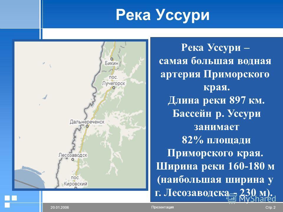 Стр. 220.01.2006 Презентация Река Уссури Река Уссури – самая большая водная артерия Приморского края. Длина реки 897 км. Бассейн р. Уссури занимает 82% площади Приморского края. Ширина реки 160-180 м (наибольшая ширина у г. Лесозаводска - 230 м).