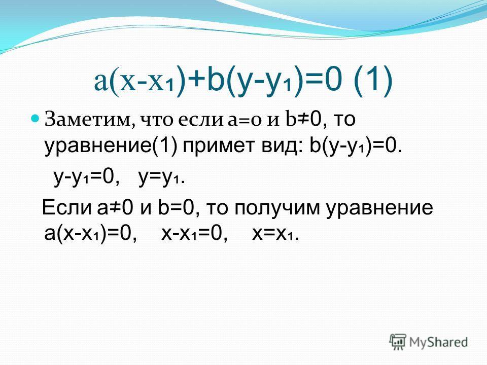 a(x-x )+b(y-y)=0 (1) Заметим, что если a=0 и b 0, то уравнение(1) примет вид: b(y-y)=0. y-y=0, y=y. Если a0 и b=0, то получим уравнение a(x-x)=0, x-x=0, x=x.