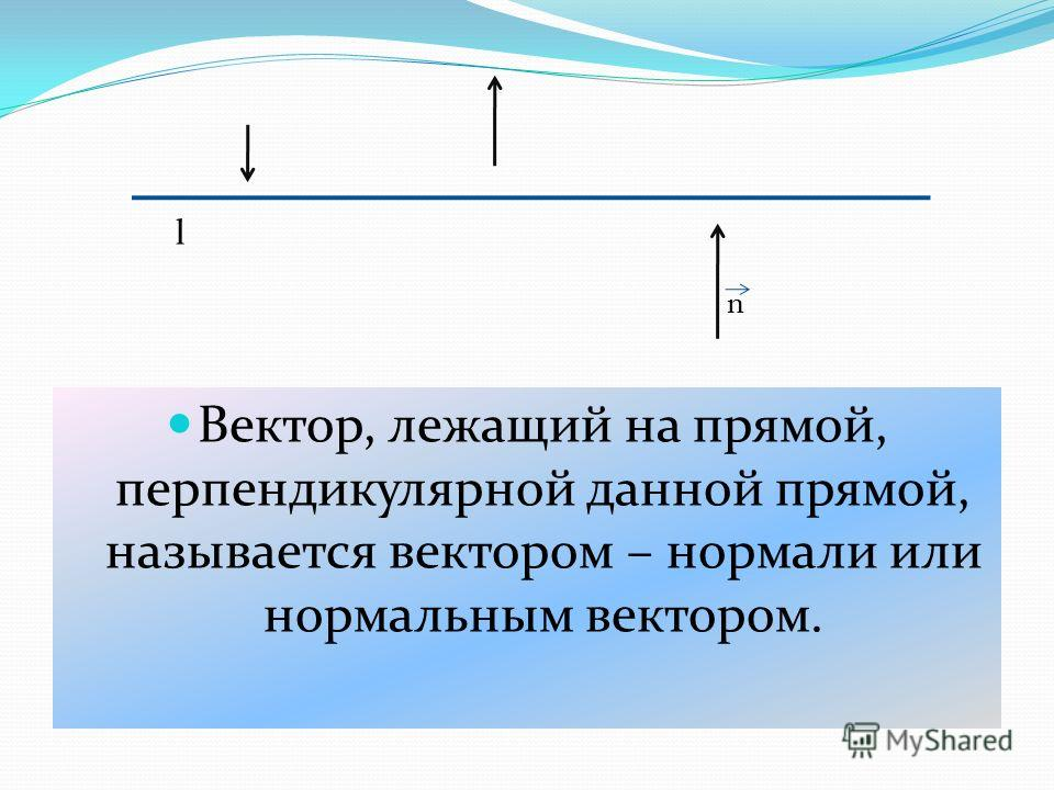 Вектор, лежащий на прямой, перпендикулярной данной прямой, называется вектором – нормали или нормальным вектором. n l