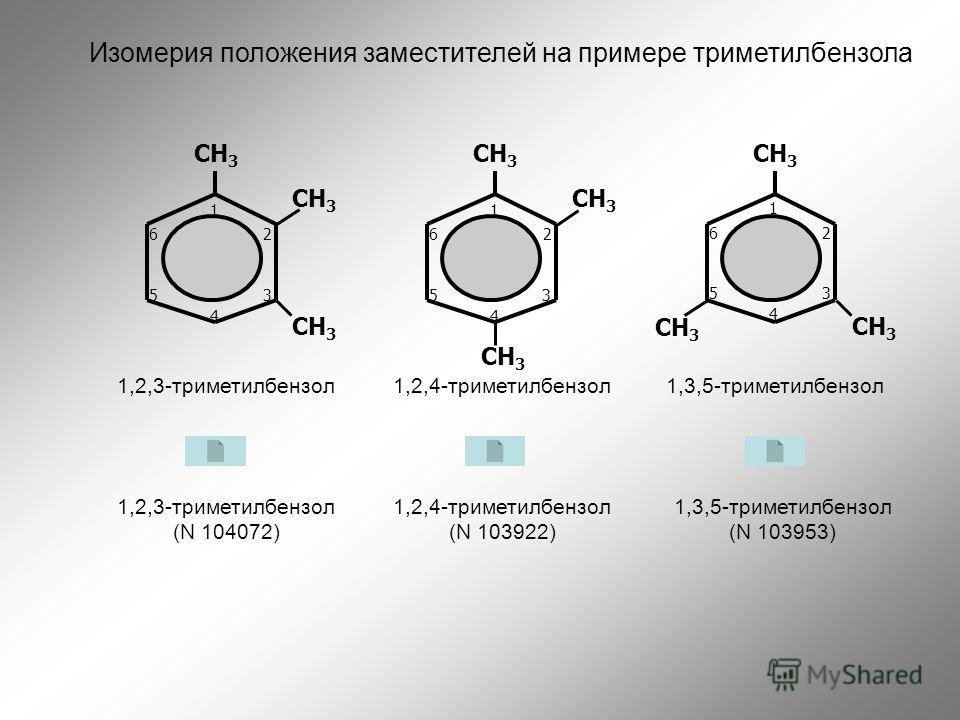 СН 3 1,2,4-триметилбензол1,2,3-триметилбензол СН 3 1,3,5-триметилбензол 1,2,3-триметилбензол (N 104072) 1,2,4-триметилбензол (N 103922) 1,3,5-триметилбензол (N 103953) 1 2 3 4 5 6 1 2 3 4 5 6 1 2 3 4 5 6 Изомерия положения заместителей на примере три