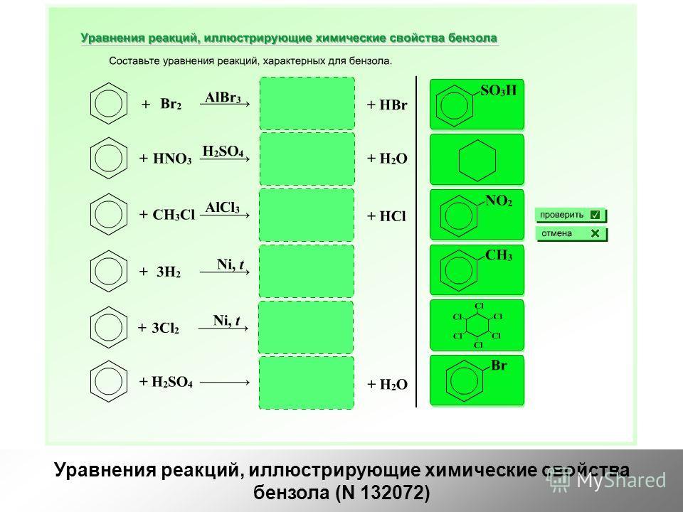 Уравнения реакций, иллюстрирующие химические свойства бензола (N 132072)
