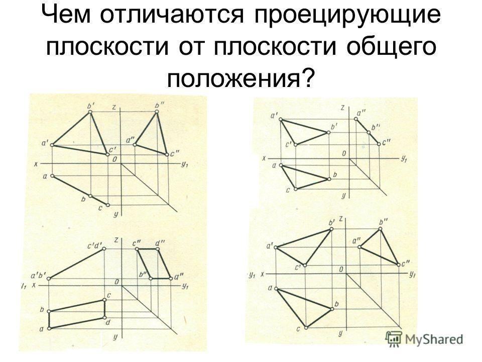 Чем отличаются проецирующие плоскости от плоскости общего положения?