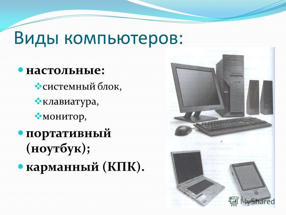 Виды компьютеров: настольные: системный блок, клавиатура, монитор, портативный (ноутбук); карманный (КПК).