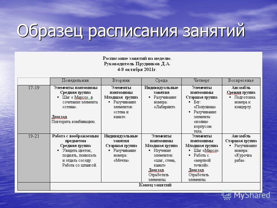 Образец расписания занятий