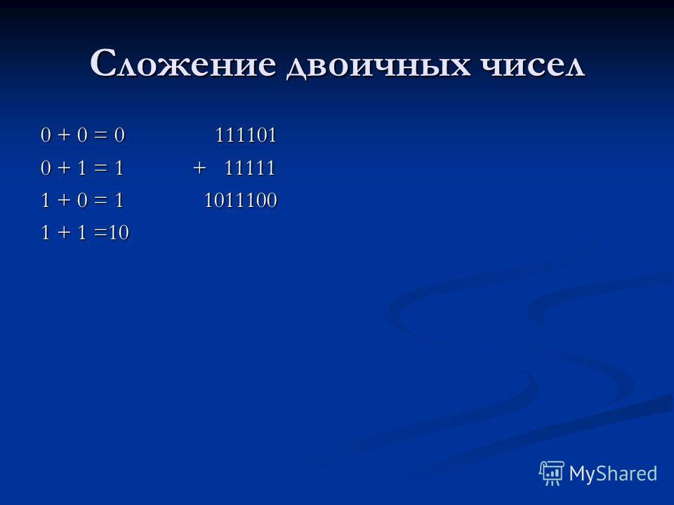 Сложение двоичных чисел 0 + 0 = 0 111101 0 + 1 = 1 + 11111 1 + 0 = 1 1011100 1 + 1 =10