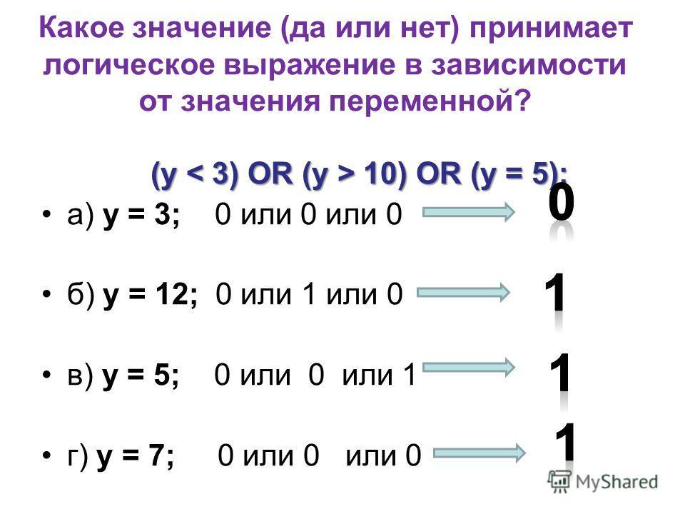 Какое значение (да или нет) принимает логическое выражение в зависимости от значения переменной? (у 10) OR (у = 5); а) у = 3; 0 или 0 или 0 б) у = 12; 0 или 1 или 0 в) у = 5; 0 или 0 или 1 г) у = 7; 0 или 0 или 0