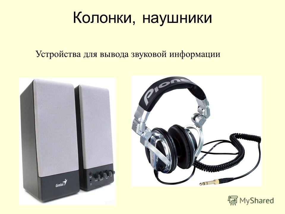 Колонки, наушники Устройства для вывода звуковой информации