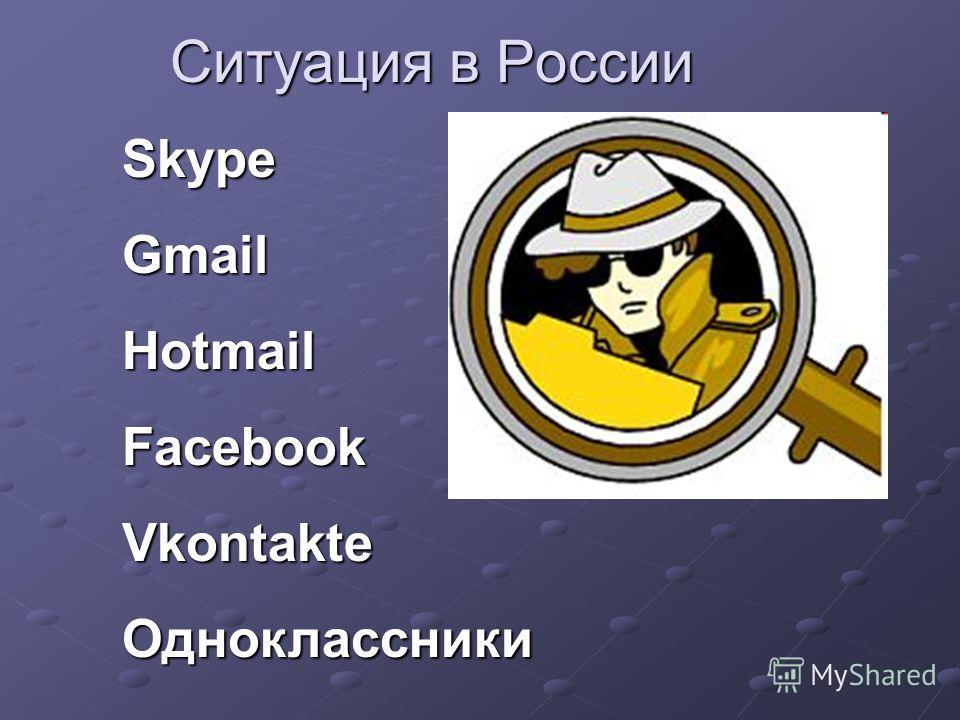 Ситуация в России SkypeGmailHotmailFacebookVkontakteОдноклассники