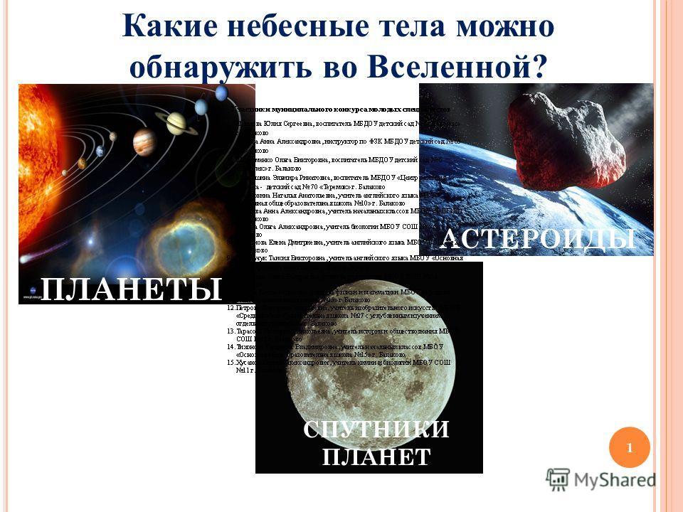 1 Какие небесные тела можно обнаружить во Вселенной? ПЛАНЕТЫ СПУТНИКИ ПЛАНЕТ АСТЕРОИДЫ