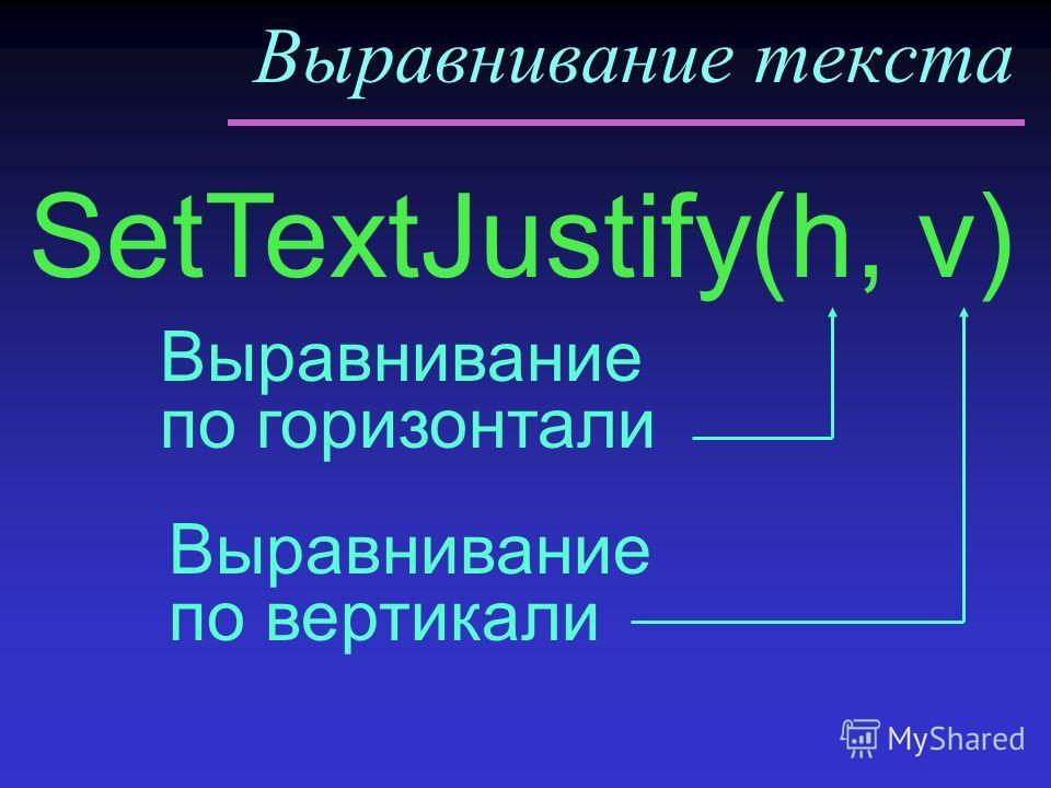 Выравнивание текста SetTextJustify(h, v) Выравнивание по горизонтали Выравнивание по вертикали
