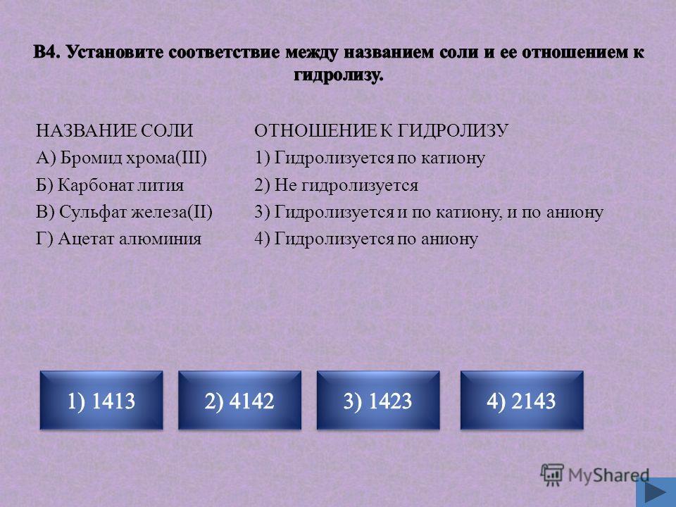 ОТНОШЕНИЕ К ГИДРОЛИЗУ 1) Гидролизуется по катиону 2) Не гидролизуется 3) Гидролизуется и по катиону, и по аниону 4) Гидролизуется по аниону НАЗВАНИЕ СОЛИ А) Бромид хрома(III) Б) Карбонат лития В) Сульфат железа(II) Г) Ацетат алюминия Неверно Верно Не