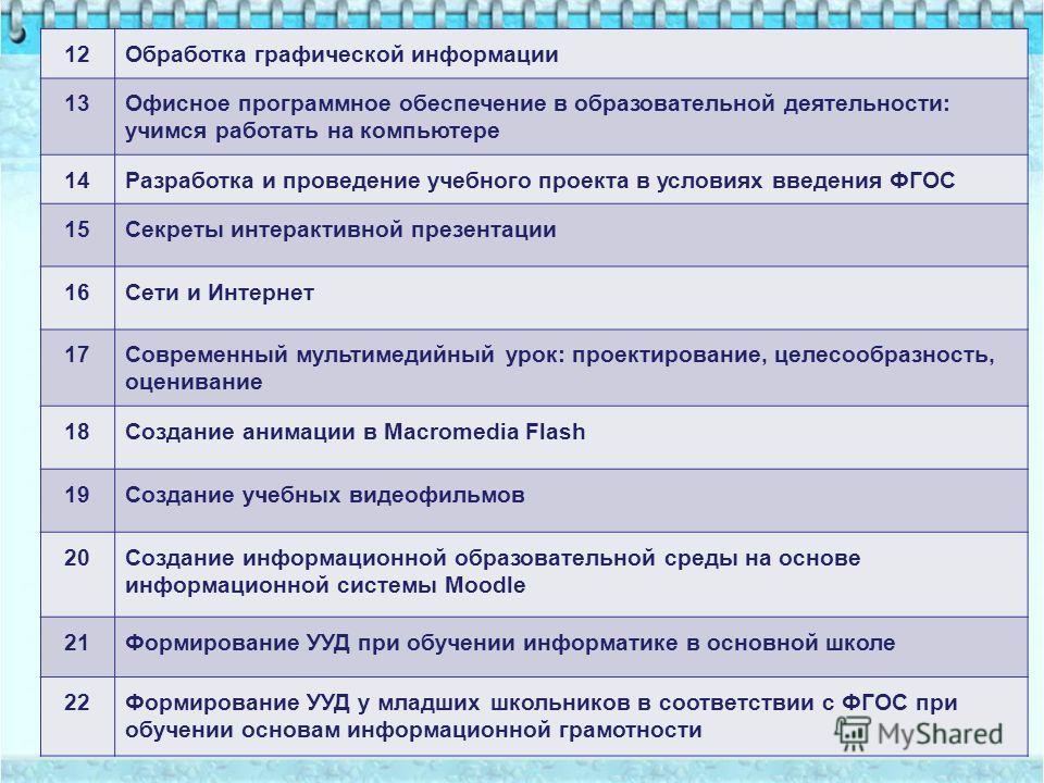 12Обработка графической информации 13Офисное программное обеспечение в образовательной деятельности: учимся работать на компьютере 14Разработка и проведение учебного проекта в условиях введения ФГОС 15Секреты интерактивной презентации 16Сети и Интерн