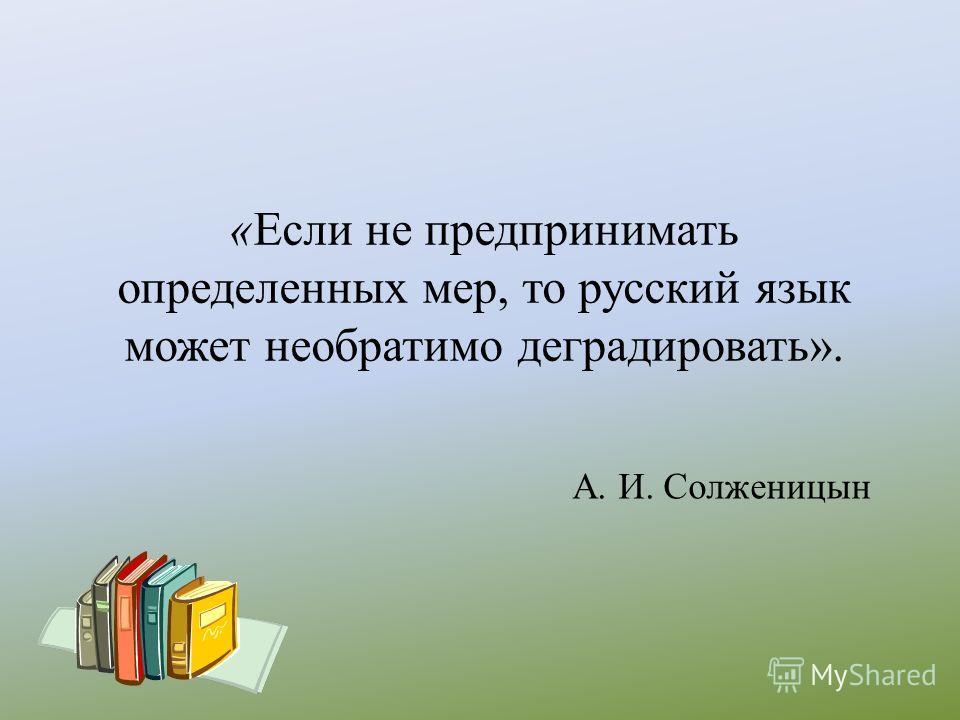 «Если не предпринимать определенных мер, то русский язык может необратимо деградировать». А. И. Солженицын