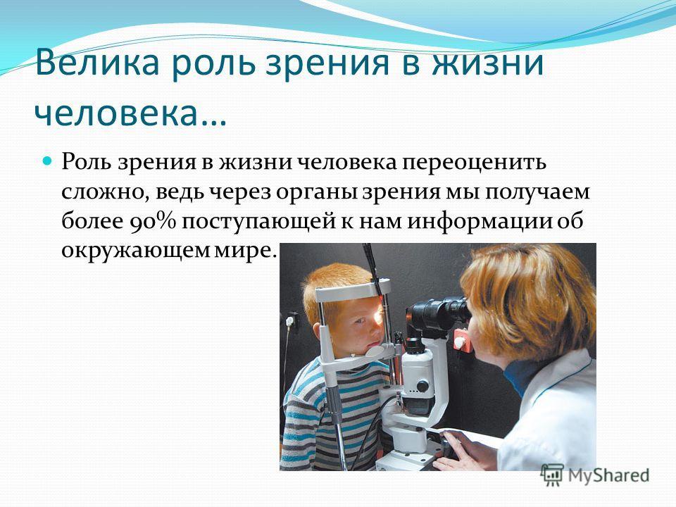 Велика роль зрения в жизни человека… Роль зрения в жизни человека переоценить сложно, ведь через органы зрения мы получаем более 90% поступающей к нам информации об окружающем мире.