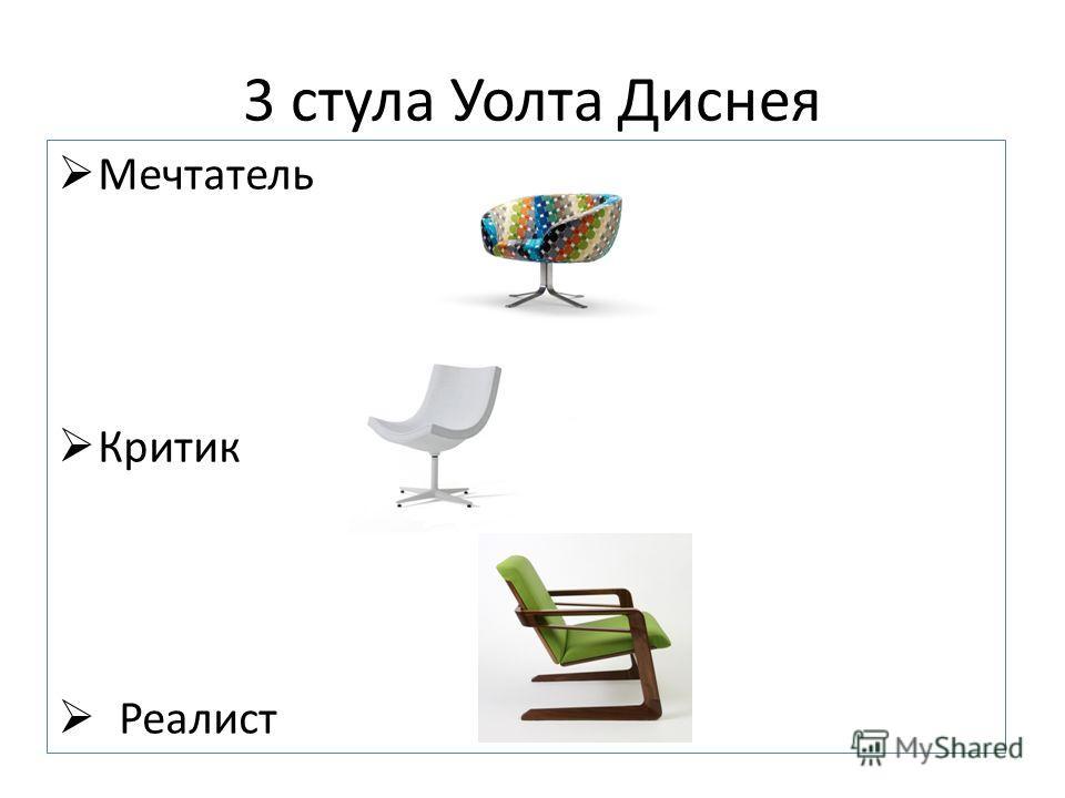 3 стула Уолта Диснея Мечтатель Критик Реалист