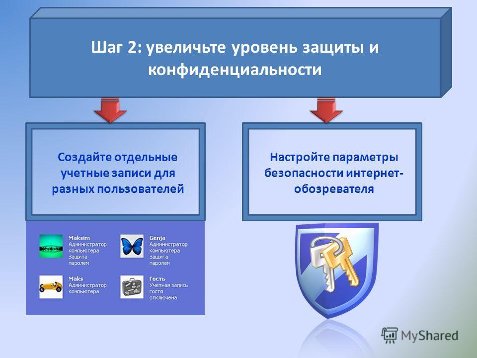 Шаг 2: увеличьте уровень защиты и конфиденциальности Создайте отдельные учетные записи для разных пользователей Настройте параметры безопасности интернет- обозревателя
