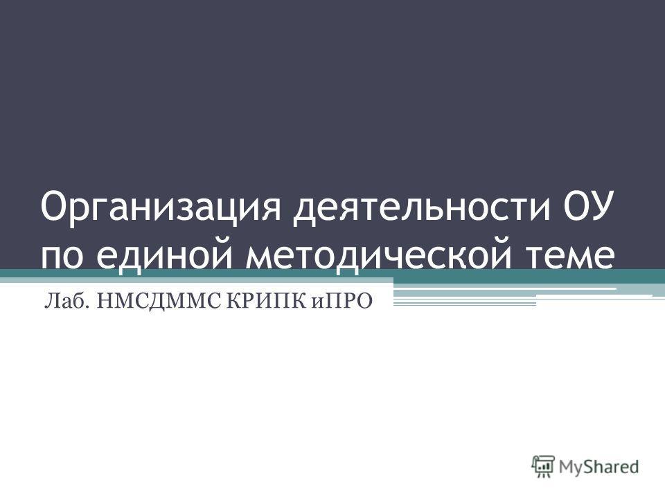 Организация деятельности ОУ по единой методической теме Лаб. НМСДММС КРИПК иПРО