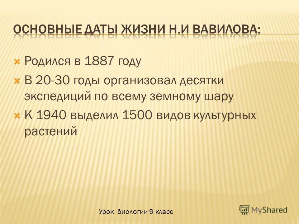 Родился в 1887 году В 20-30 годы организовал десятки экспедиций по всему земному шару К 1940 выделил 1500 видов культурных растений Урок биологии 9 класс