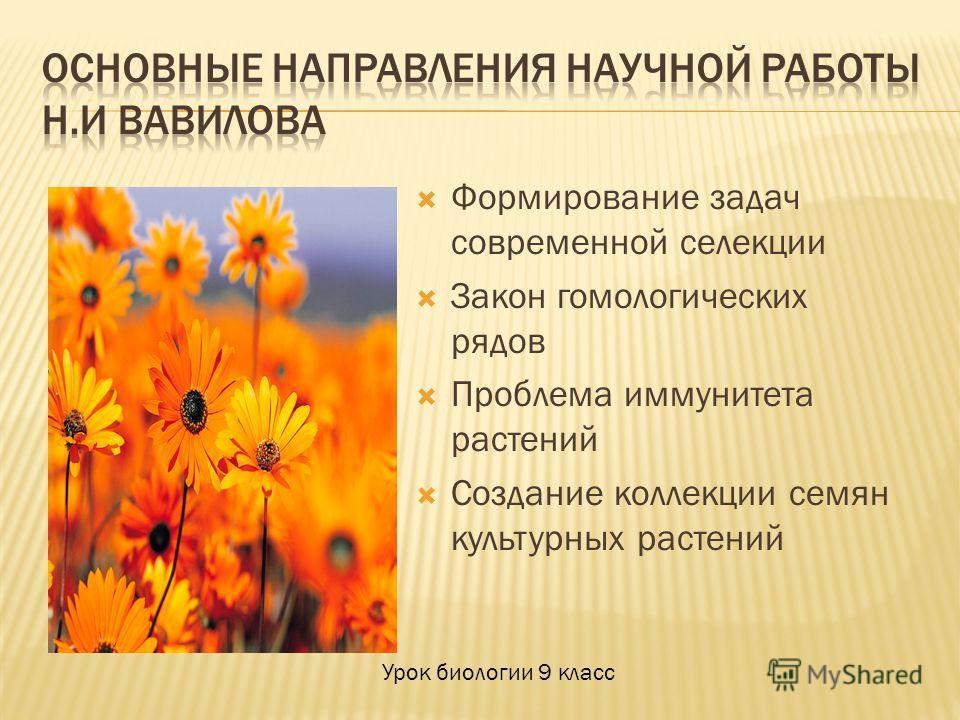 Формирование задач современной селекции Закон гомологических рядов Проблема иммунитета растений Создание коллекции семян культурных растений Урок биологии 9 класс