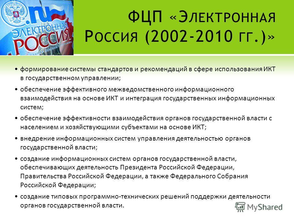 ФЦП «Э ЛЕКТРОННАЯ Р ОССИЯ (2002-2010 ГГ.)» формирование системы стандартов и рекомендаций в сфере использования ИКТ в государственном управлении; обеспечение эффективного межведомственного информационного взаимодействия на основе ИКТ и интеграция гос