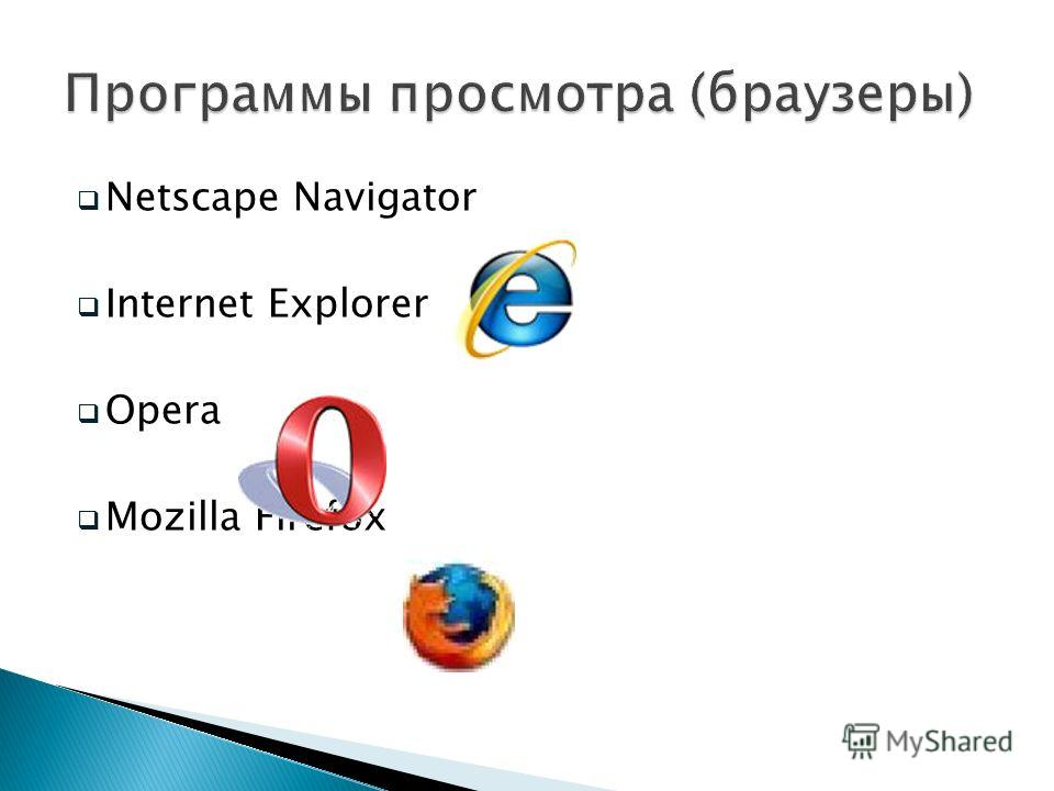 Netscape Navigator Internet Explorer Opera Mozilla Firefox