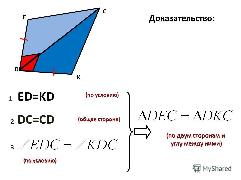 Доказательство: (по двум сторонам и (по двум сторонам и углу между ними) углу между ними) D E C K 3. 1. 1. ED=KD (по условию) (общая сторона) 2. DC=CD (по условию) (по условию)