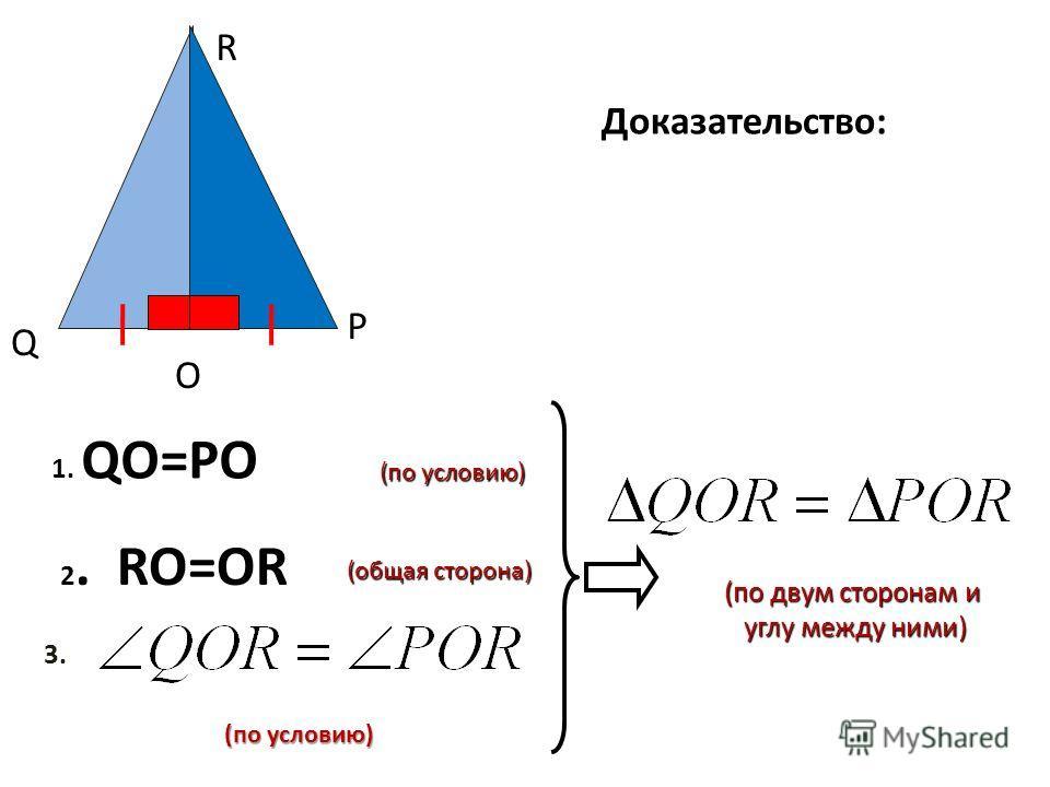 Q R O P Доказательство: 1. 1. QO=PO 2 2. RO=OR (общая сторона) (по условию) 3. (по двум сторонам и (по двум сторонам и углу между ними) углу между ними) (по условию)