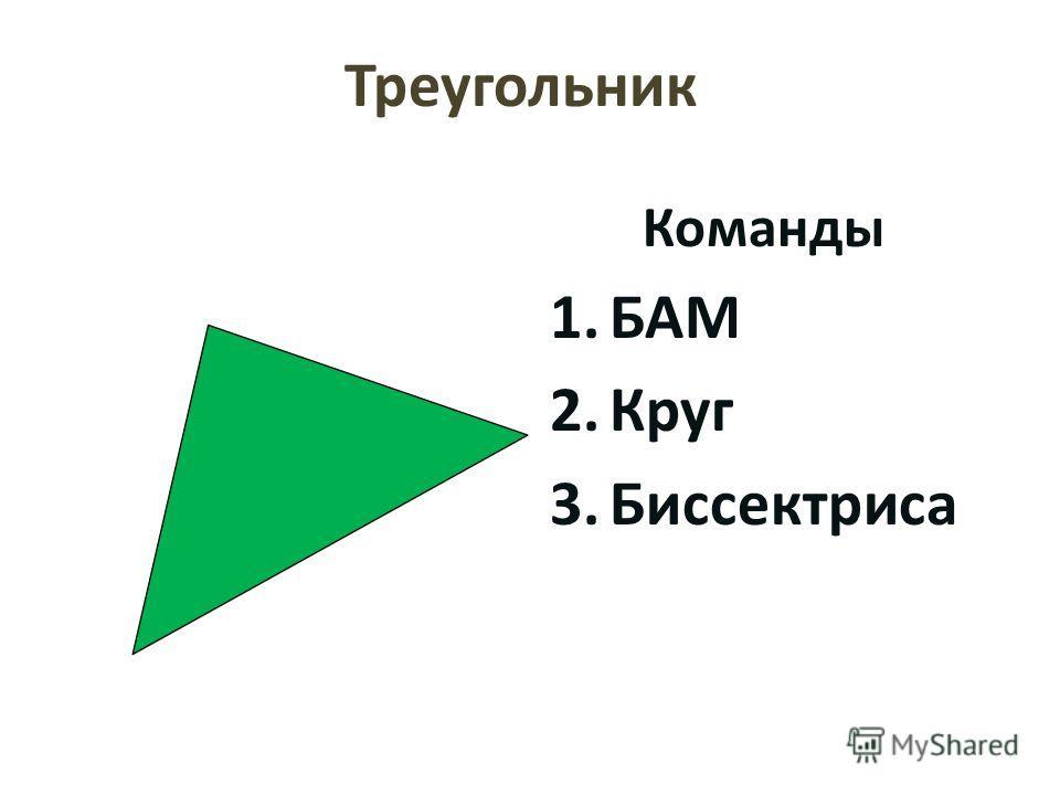 Треугольник Команды 1.БАМ 2.Круг 3.Биссектриса