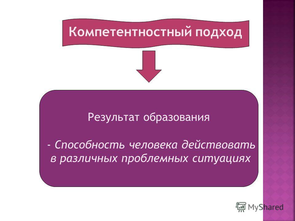 Компетентностный подход Результат образования - Способность человека действовать в различных проблемных ситуациях