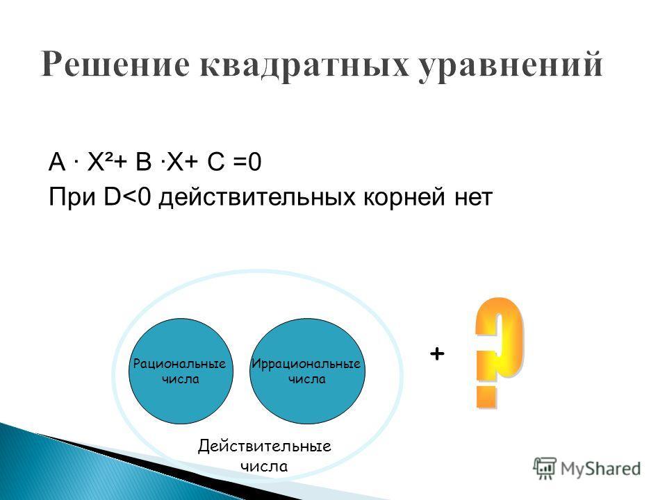 А · Х²+ В ·Х+ С =0 При D