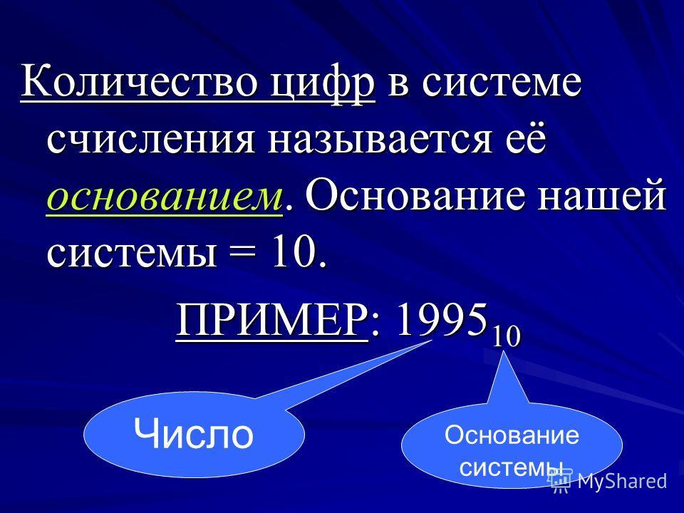 Количество цифр в системе счисления называется её основанием. Основание нашей системы = 10. ПРИМЕР: 1995 10 Основание системы Число