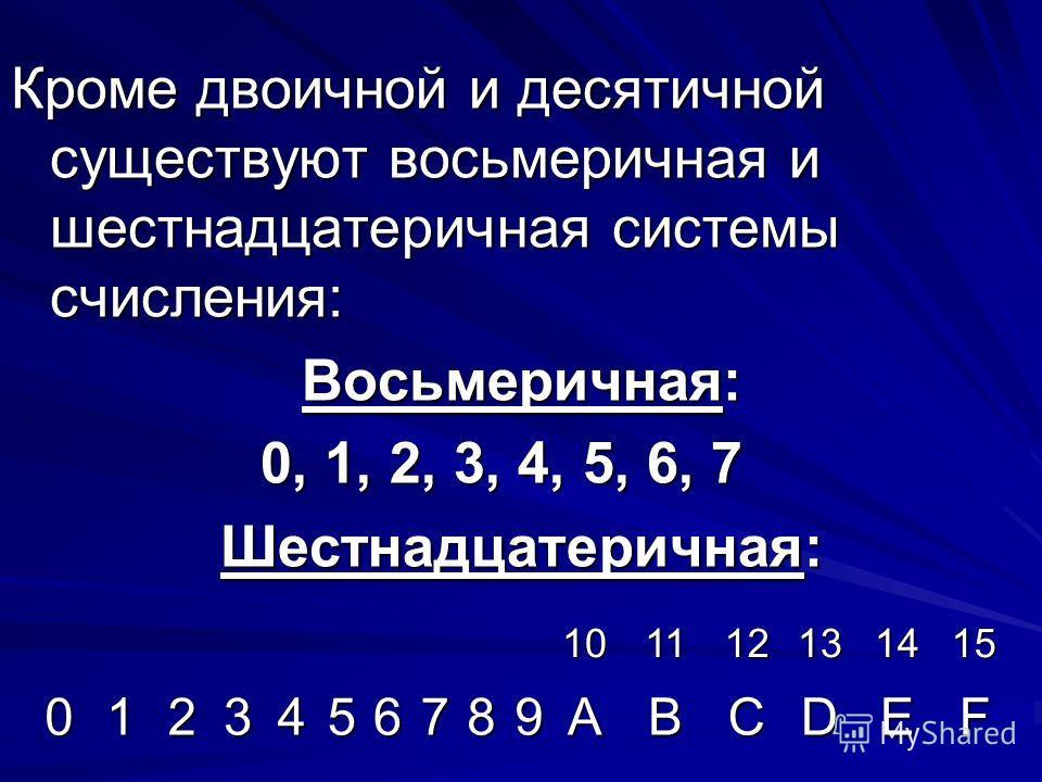 Кроме двоичной и десятичной существуют восьмеричная и шестнадцатеричная системы счисления: Восьмеричная: 0, 1, 2, 3, 4, 5, 6, 7 Шестнадцатеричная: 101112131415 0123456789ABCDEF