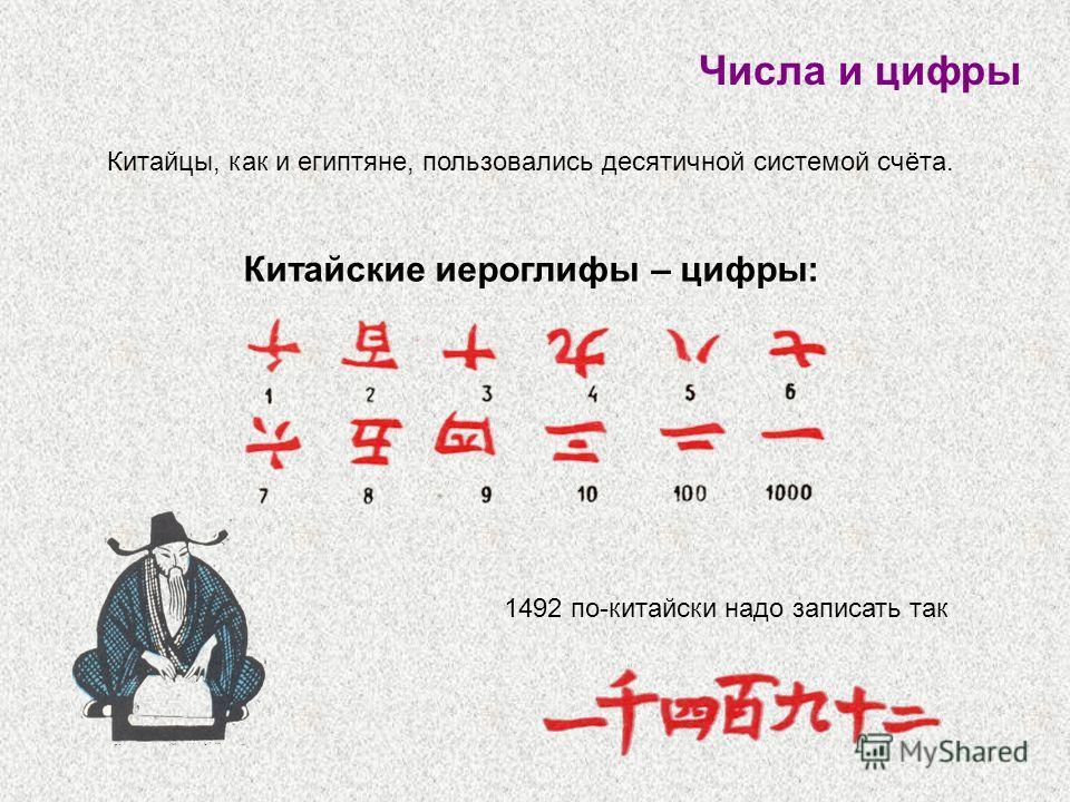 1492 по-китайски надо записать так Числа и цифры Китайцы, как и египтяне, пользовались десятичной системой счёта. Китайские иероглифы – цифры: