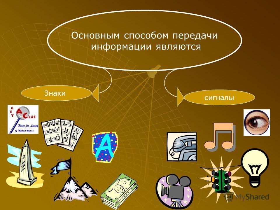 Знаки сигналы Основным способом передачи информации являются