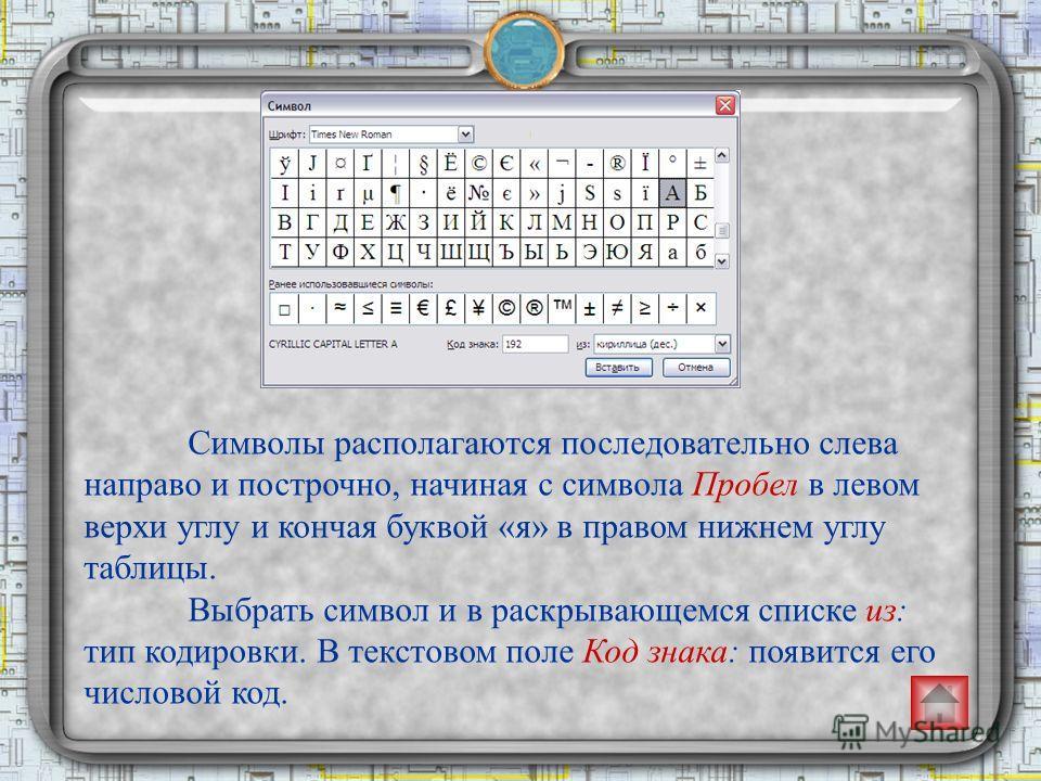 Символы располагаются последовательно слева направо и построчно, начиная с символа Пробел в левом верхи углу и кончая буквой «я» в правом нижнем углу таблицы. Выбрать символ и в раскрывающемся списке из: тип кодировки. В текстовом поле Код знака: поя