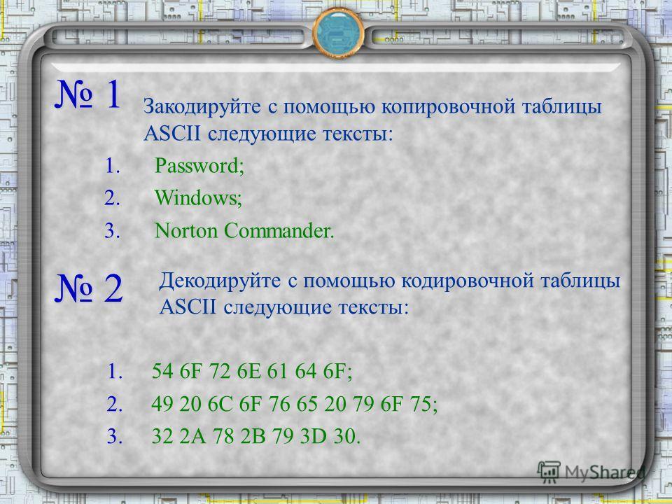 1 Закодируйте с помощью копировочной таблицы ASCII следующие тексты: 1. Password; 2. Windows; 3. Norton Commander. 2 Декодируйте с помощью кодировочной таблицы ASCII следующие тексты: 1.54 6F 72 6Е 61 64 6F; 2.49 20 6С 6F 76 65 20 79 6F 75; 3.32 2А 7