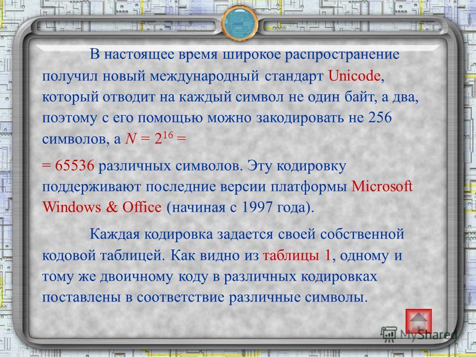 В настоящее время широкое распространение получил новый международный стандарт Unicode, который отводит на каждый символ не один байт, а два, поэтому с его помощью можно закодировать не 256 символов, а N = 2 16 = = 65536 различных символов. Эту кодир